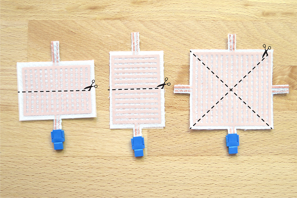 Three different shapes of conductive fabric switches that can be cut to size.